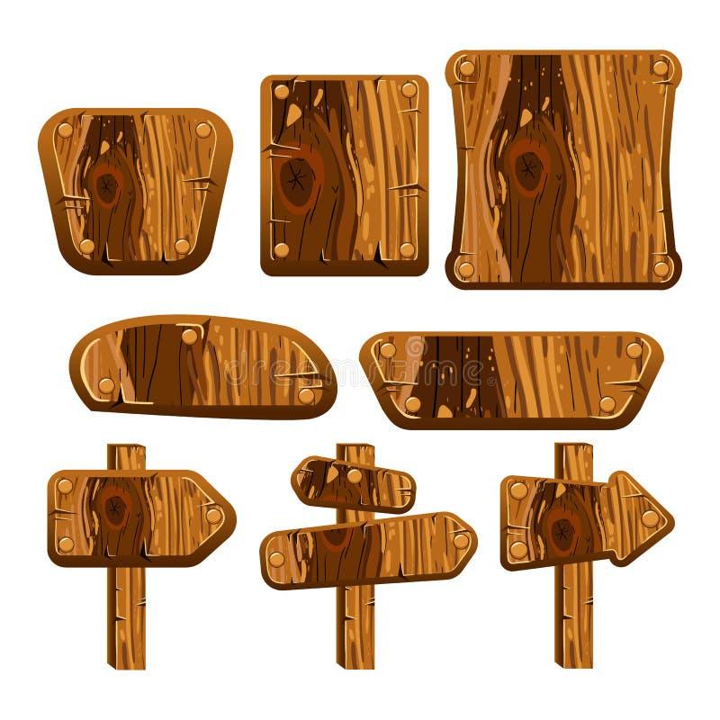 一套木板、盘区和标志 皇族释放例证