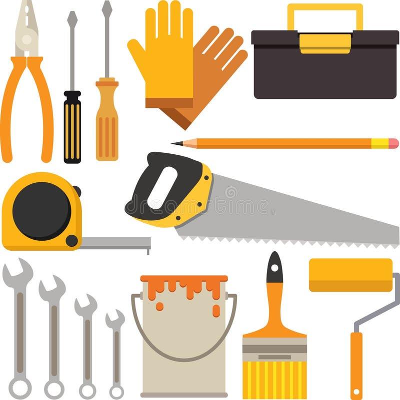 一套杂物工或DIY工具象 库存图片