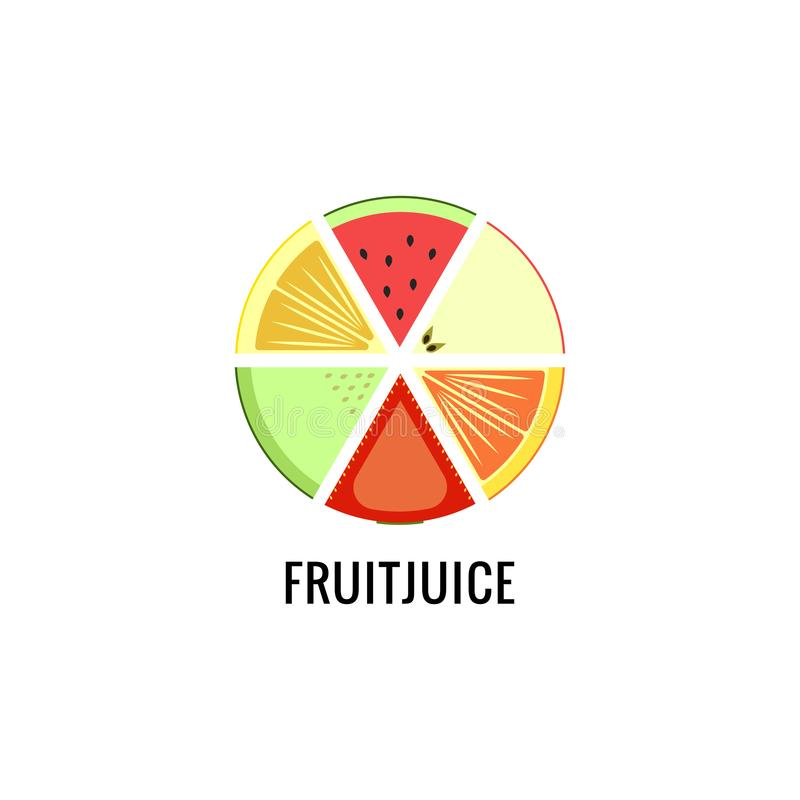 一套果汁西瓜,苹果,柠檬,桔子,草莓,甜瓜商标的不同的果子  圆的略写法 向量例证