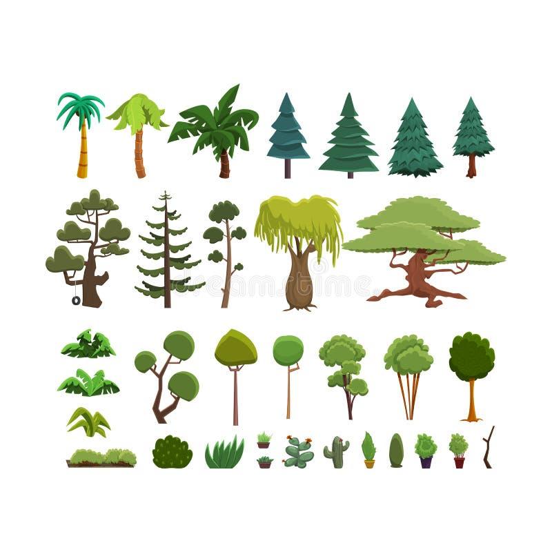 一套树和灌木的另外种类在一个平的样式 库存例证