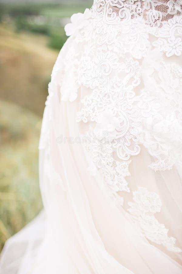 一套桃红色婚礼礼服的细节 免版税库存图片