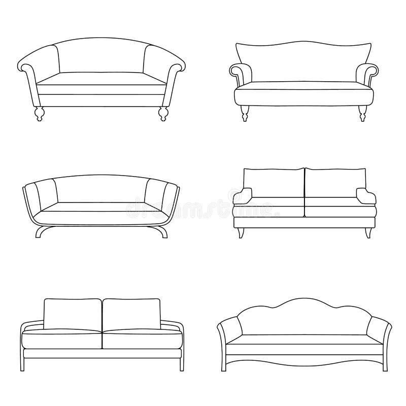 一套概述沙发 向量例证