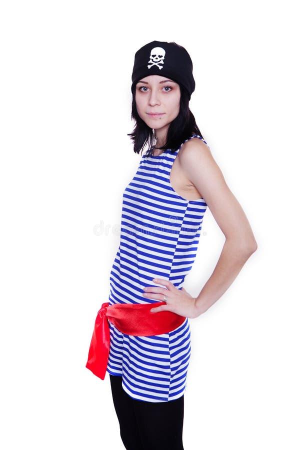 一套海盗服装的女孩为假日 免版税库存图片