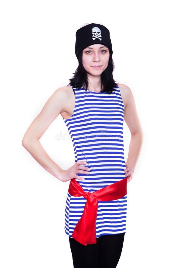 一套海盗服装的女孩为假日 免版税库存照片