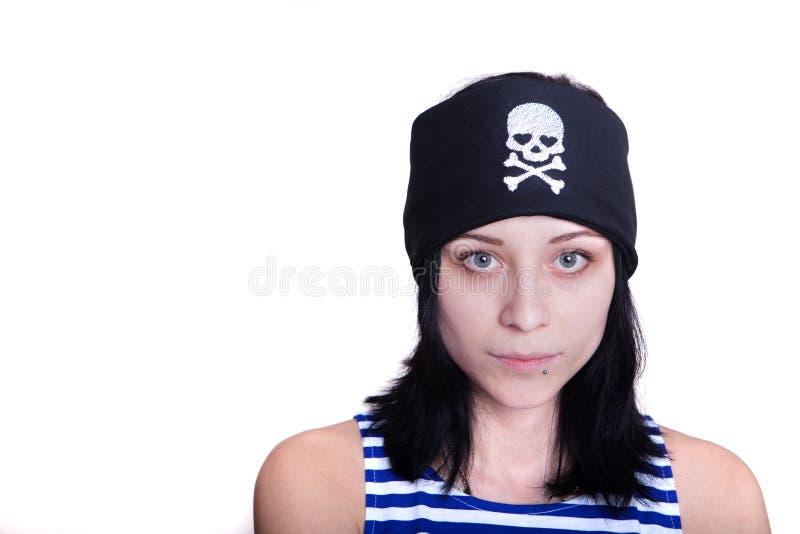 一套海盗服装的女孩为假日 库存照片