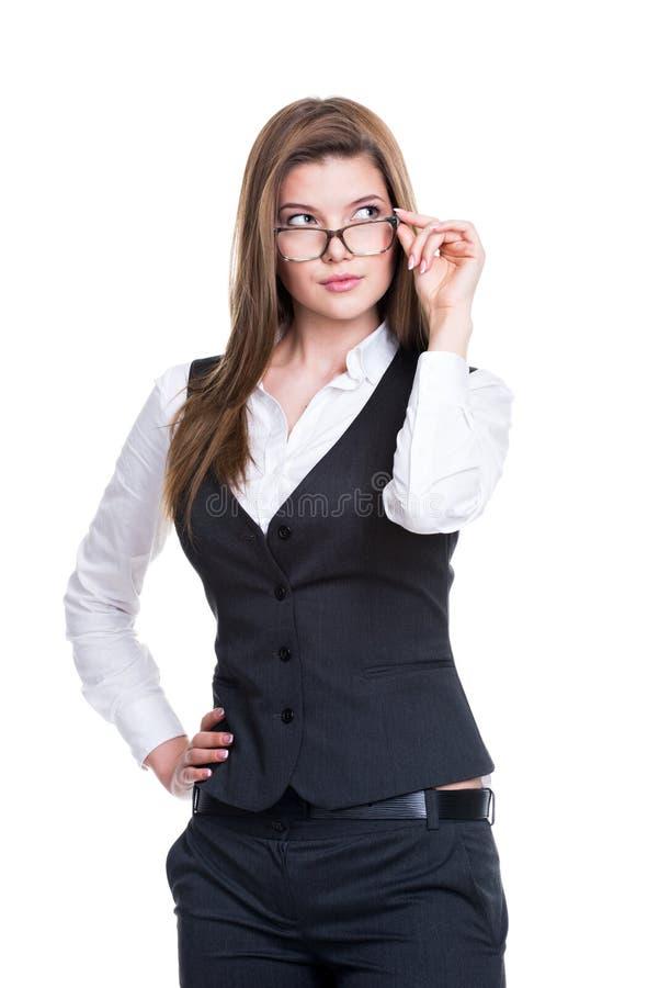 一套灰色衣服的成功的女商人。 库存照片