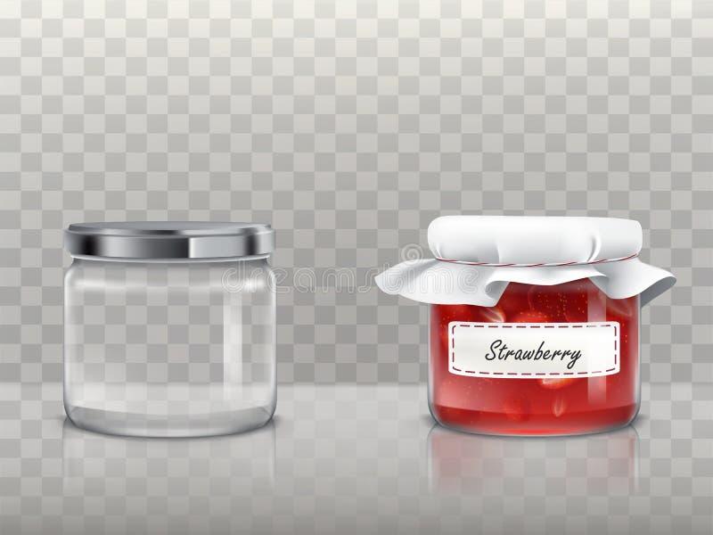 一套玻璃圆的瓶子的传染媒介例证是空和与草莓酱 向量例证