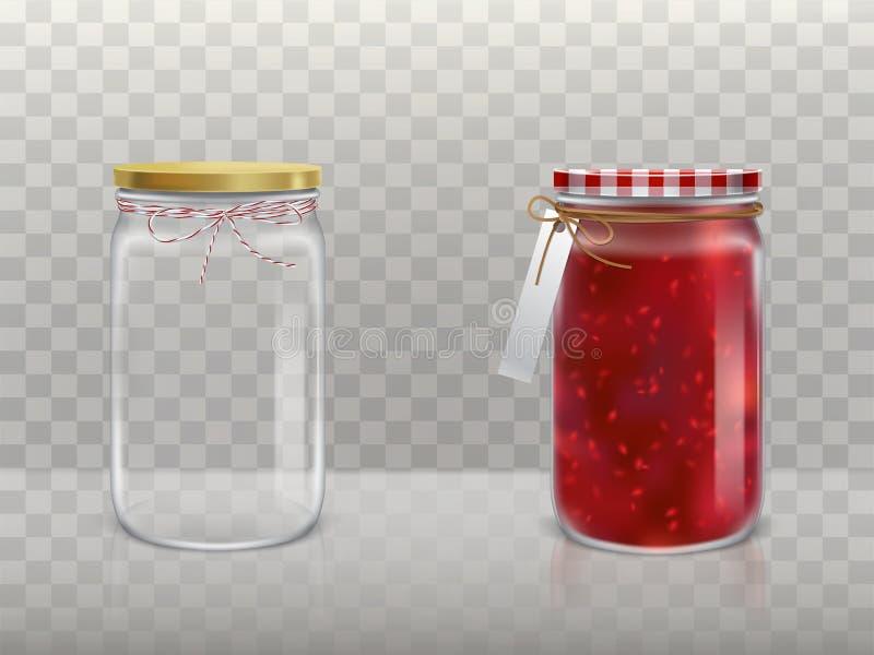 一套玻璃圆的瓶子的传染媒介例证 库存例证