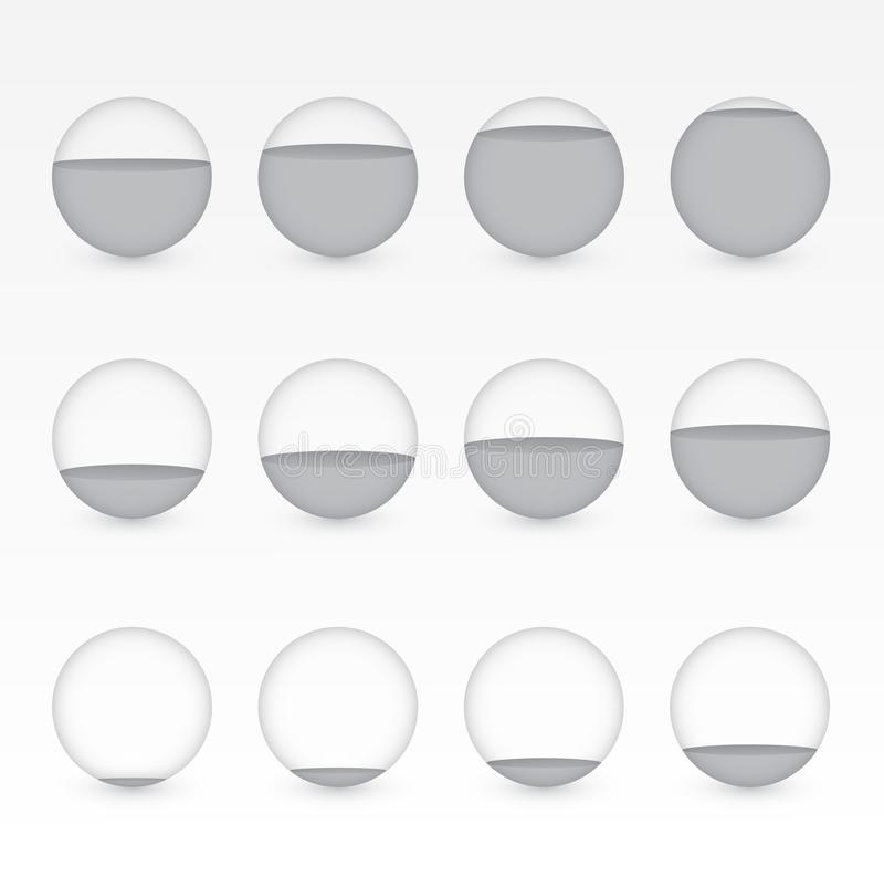 一套用显示信息图表介绍的百分比价值的水的不同的水平的灰色或黑圆水族馆 库存例证