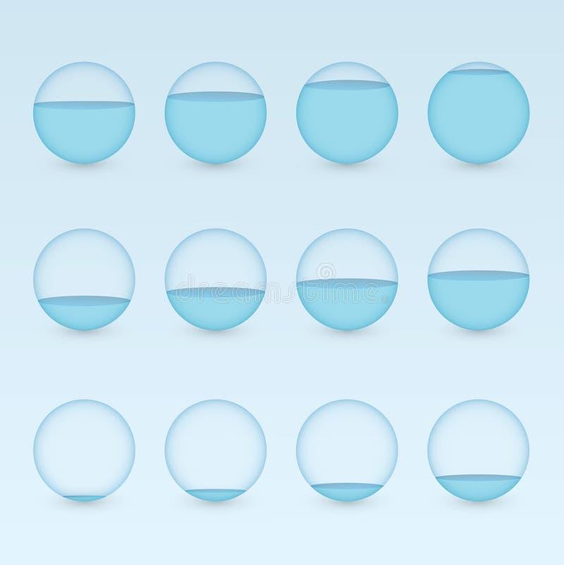 一套用显示信息图表介绍的百分比价值的水的不同的水平的蓝色圆水族馆 库存例证