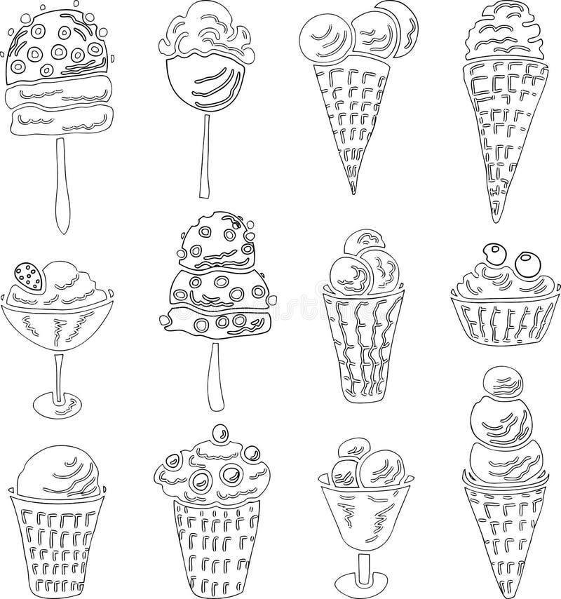 一套的传染媒介图象另外风格化冰淇淋概述  皇族释放例证