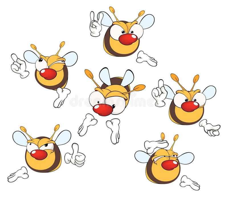 一套的例证逗人喜爱的动画片黄色蜂 库存例证
