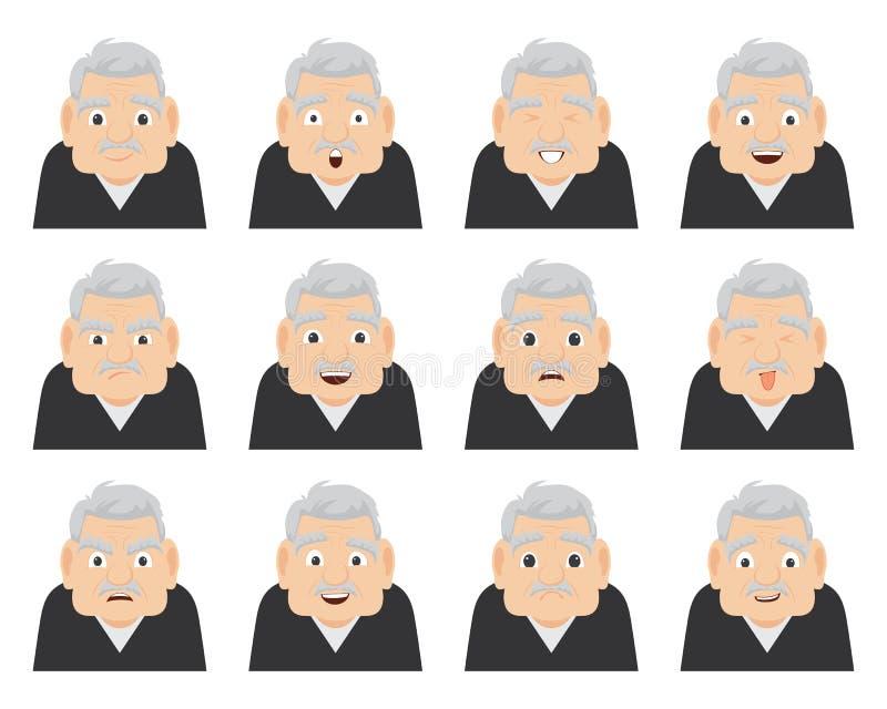 一套祖父的情感面孔的 一个男性的资深漫画人物用不同的表示的 向量例证