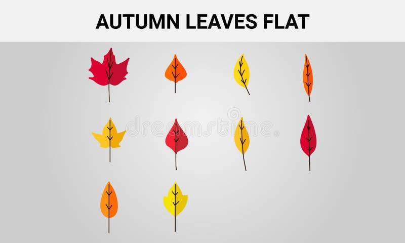 一套秋天在一个平的样式的叶子象 库存例证
