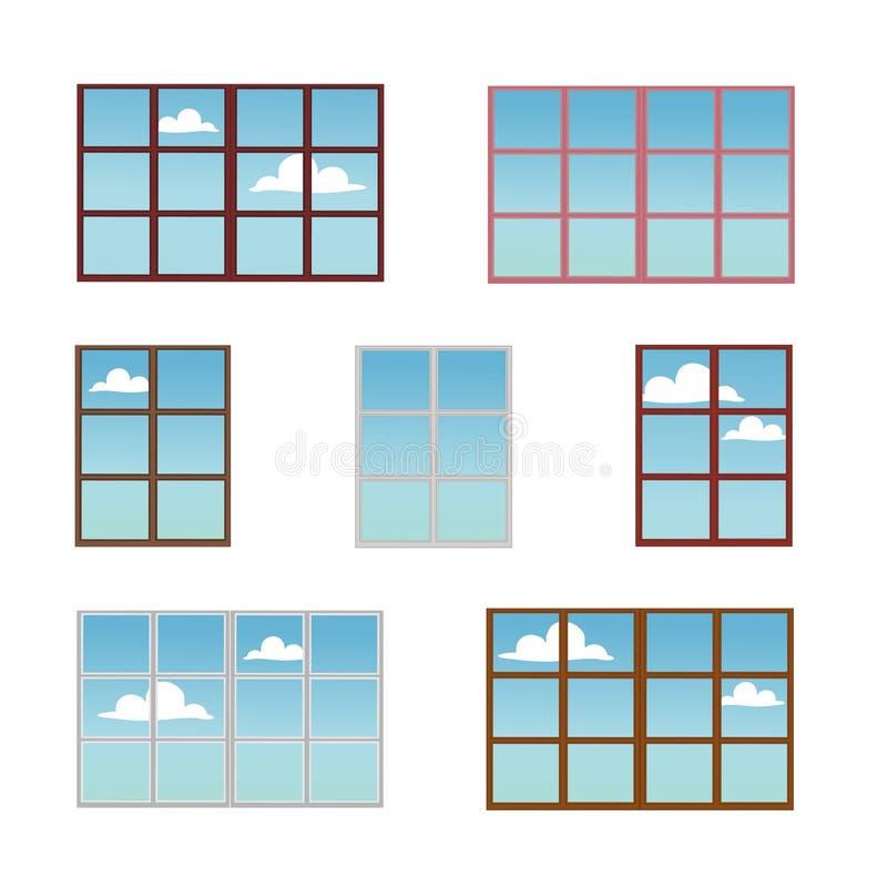 一套窗架用不同的颜色 库存例证