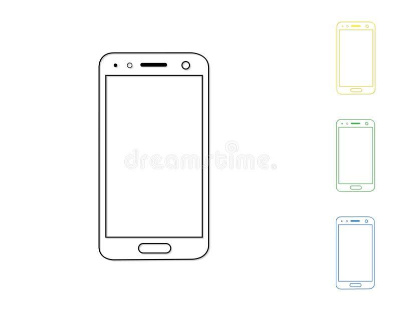 一套简单的现代触摸屏幕手机通过画在白色背景的线与阴影传染媒介例证 库存例证