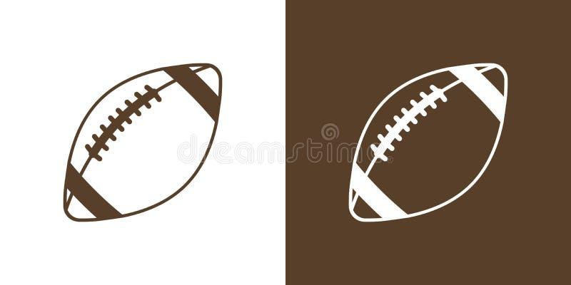 一套简单的象的两个选择,等高,美式足球的球 在白色和棕色背景 皇族释放例证