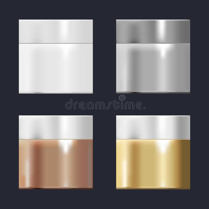 一套管模板有梯度的金子,铜,银,瓷 向量例证