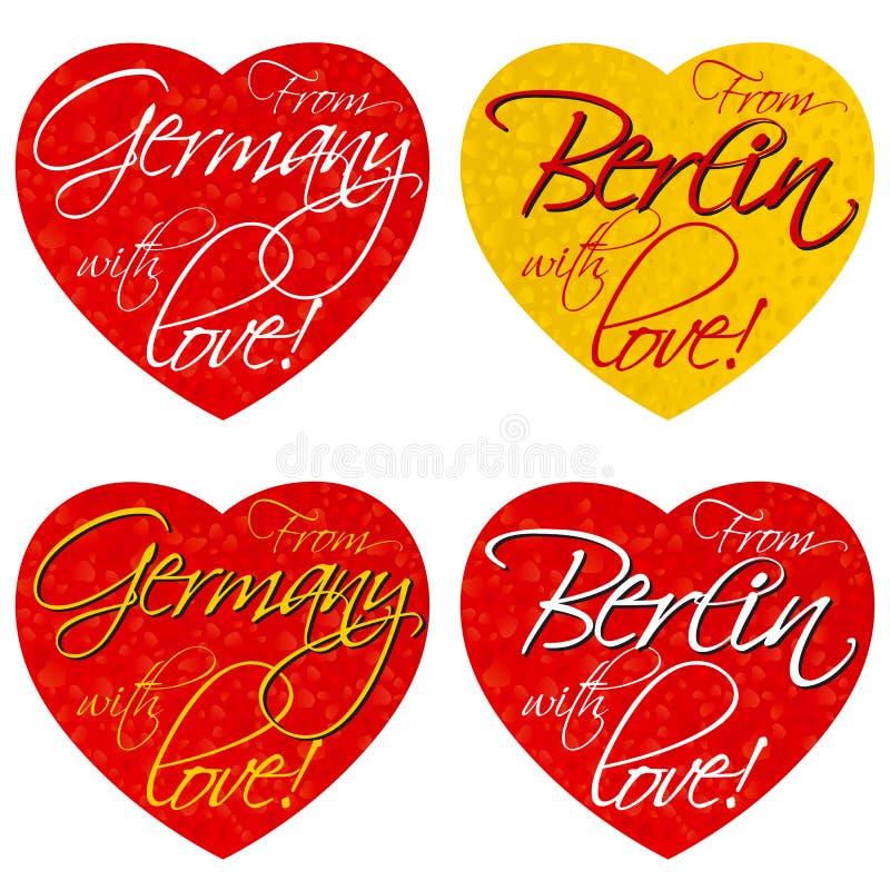 一套纪念品的心脏在德国,全国颜色的柏林的题材 向量 免版税库存照片