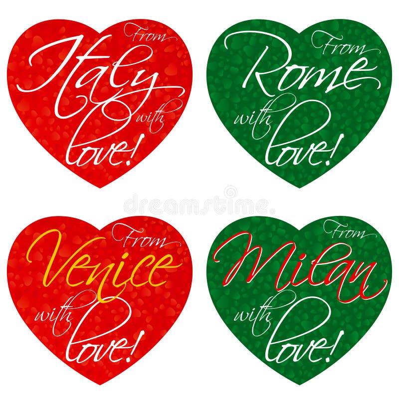 一套纪念品的心脏在意大利,罗马,威尼斯,全国颜色的米兰的题材 向量 免版税库存照片