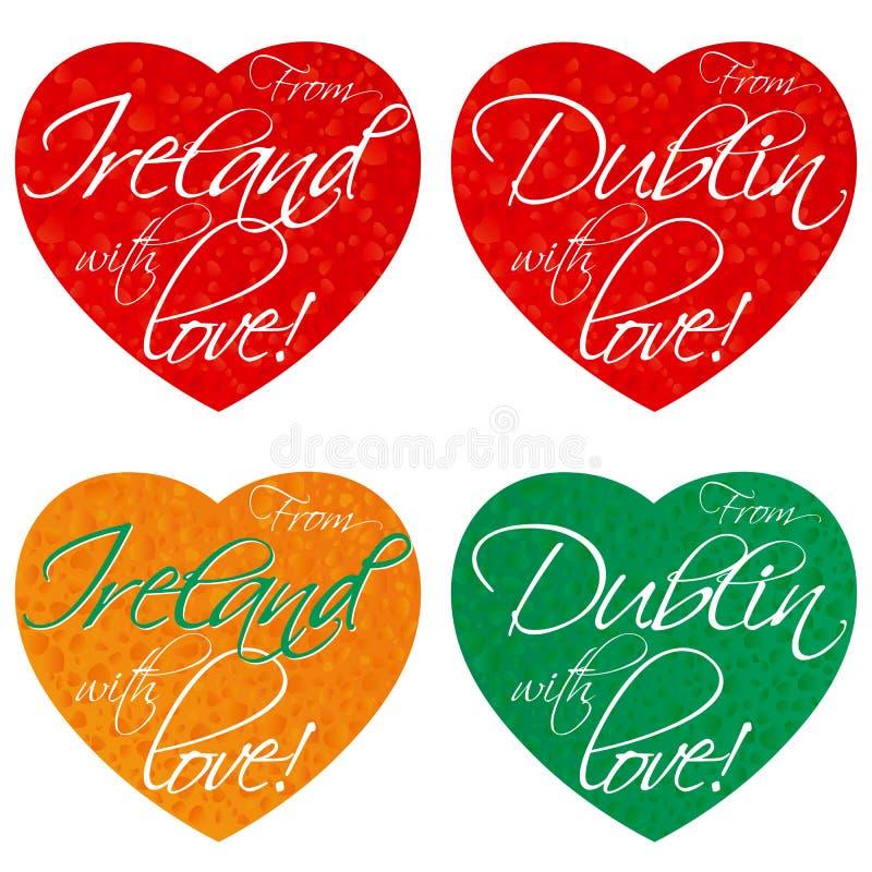 一套纪念品的心脏在爱尔兰,全国颜色的都伯林的题材 向量 免版税库存照片