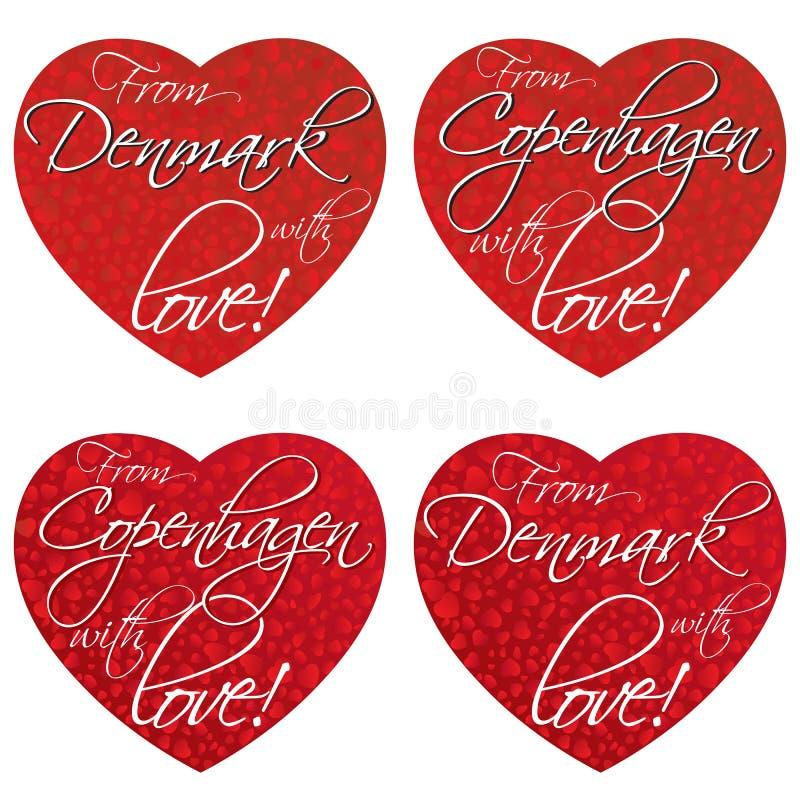 一套纪念品的心脏在题材丹麦,全国颜色的哥本哈根 向量 库存图片