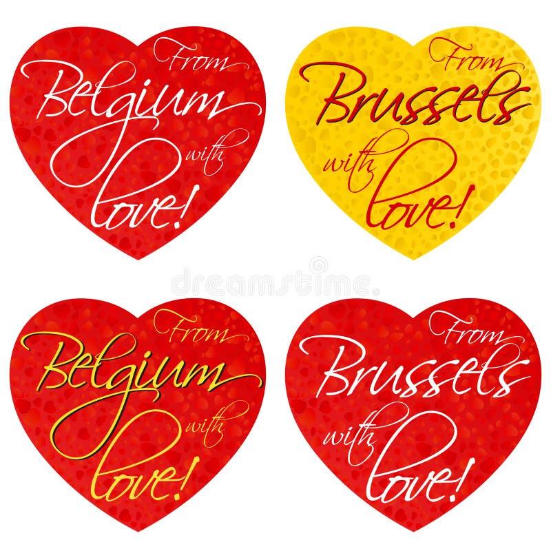 一套纪念品的心脏在题材比利时,全国颜色的布鲁塞尔 向量 免版税库存照片