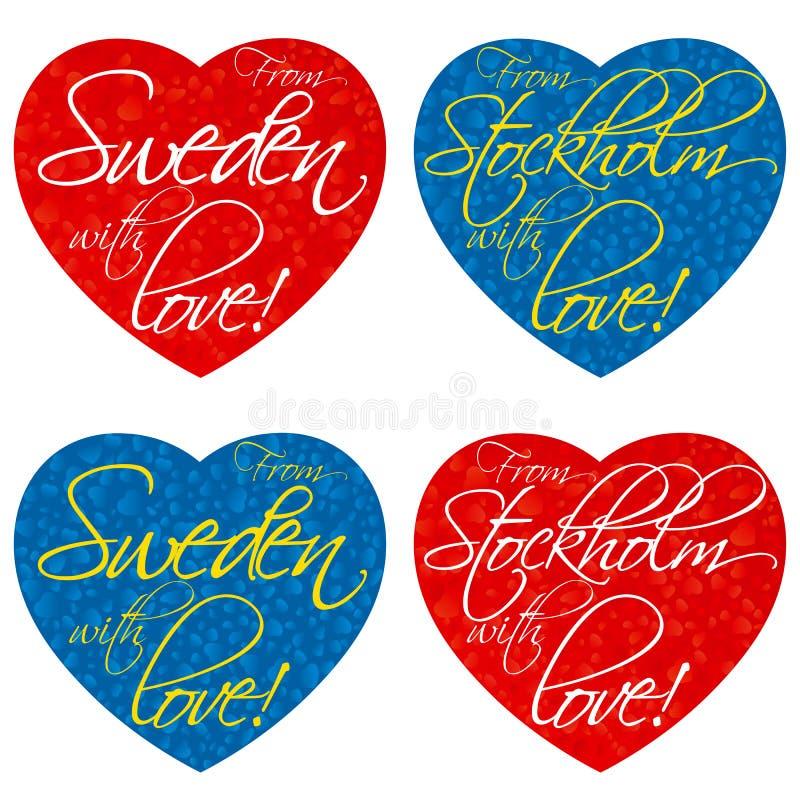 一套纪念品的心脏在题材瑞典,全国颜色的斯德哥尔摩 向量 库存图片