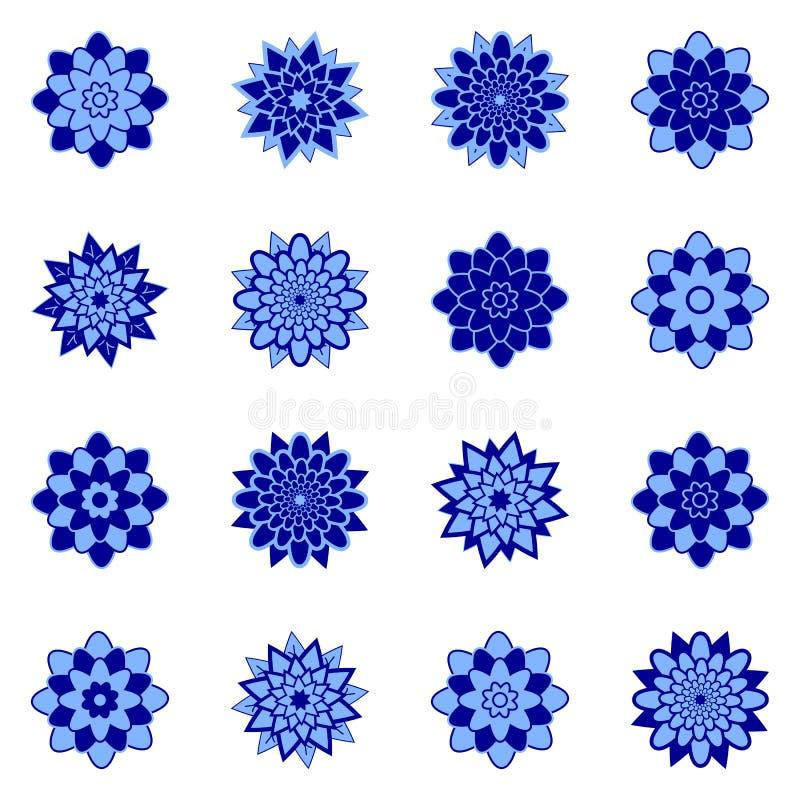 一套美丽的花蓝色和深蓝 r 适用于设计 库存例证