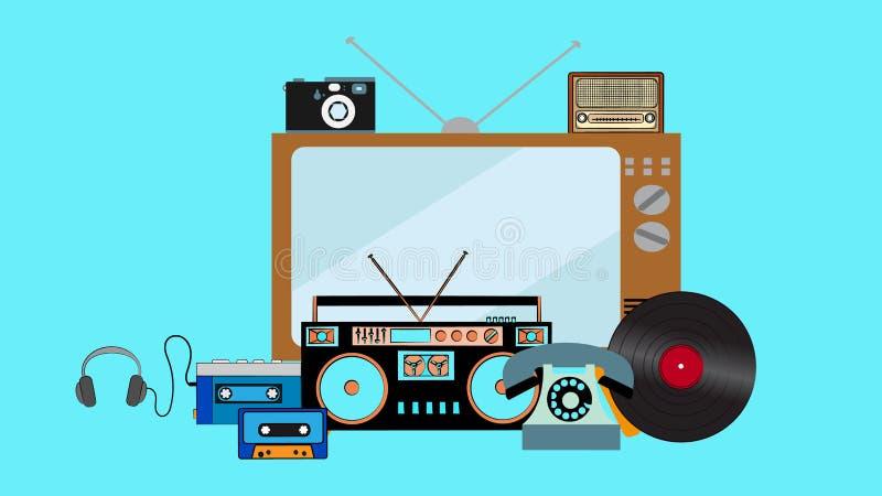 一套老葡萄酒行家电子技术,80s,90s磁带记录器,球员,乙烯基电视减速火箭的项目从20世纪70年代的 库存例证