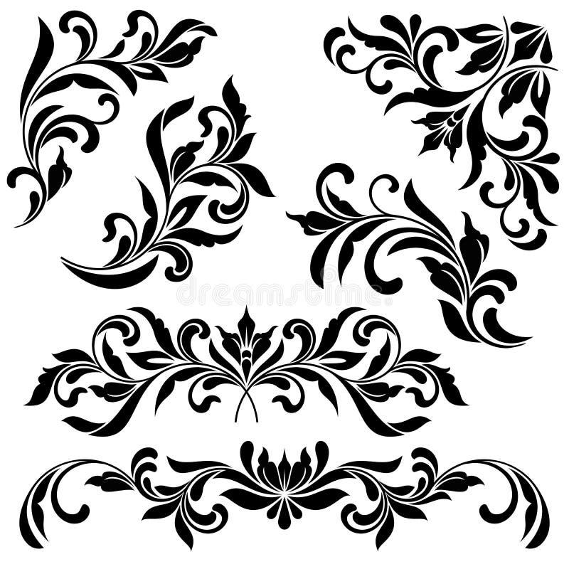 一套花卉葡萄酒元素 有角装饰品、页装饰和文本分切器 库存例证