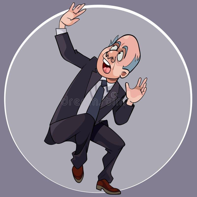 一套衣服的动画片人与领带在惊吓蹲下 向量例证
