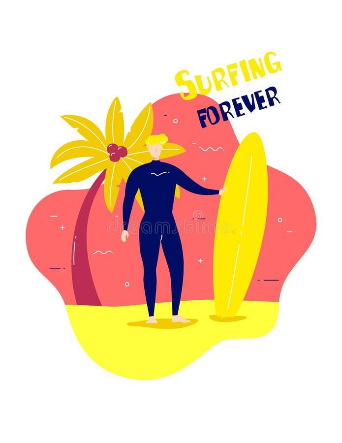 一套衣服的年轻人冲浪的与水橇板和棕榈在海滩 传染媒介卡片 库存例证