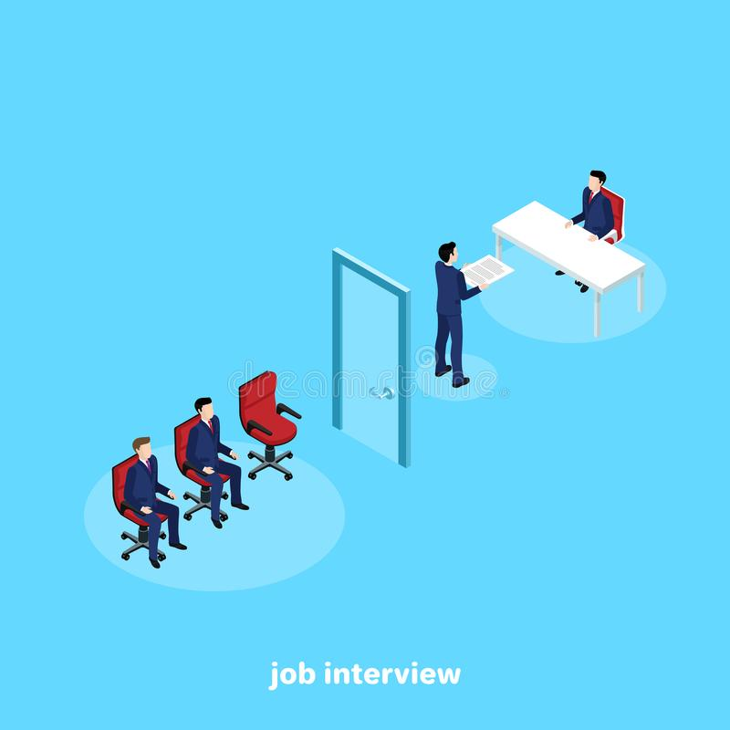 一套西装的一个人在一位人力资源经理办公室得到工作 向量例证