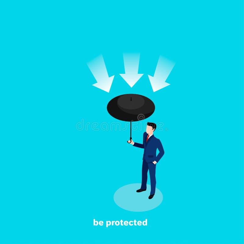 一套西装的一个人有一把伞的在他的手,一个等量图象上 皇族释放例证