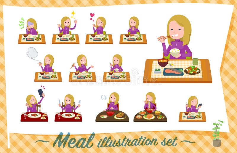 一套运动服的妇女关于饭食 日本和中国烹调,西部样式盘等等 这是传染媒介艺术,因此这是ea 向量例证