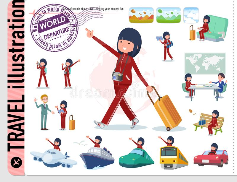 一套运动服的妇女在旅行 也有车例如小船和飞机 它` s传染媒介艺术,因此它容易的` s编辑 皇族释放例证
