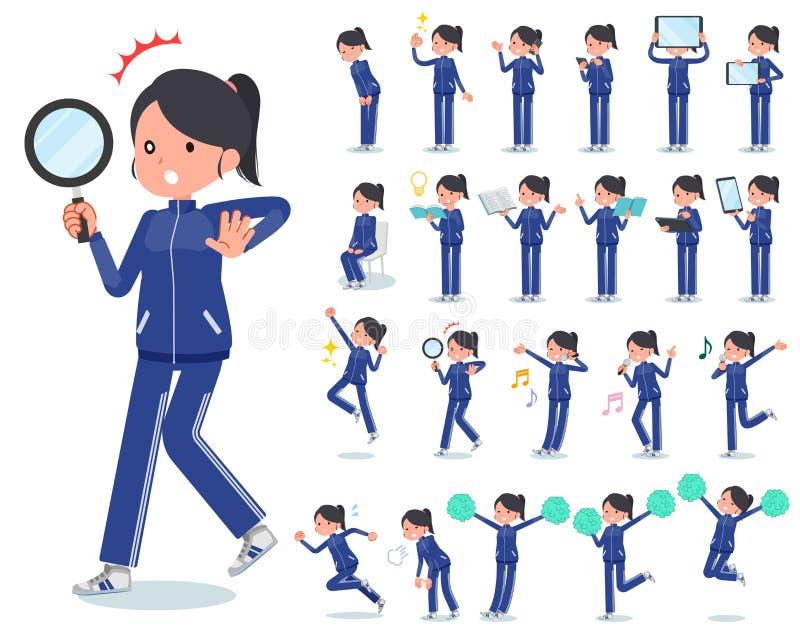一套运动服的妇女有数字仪器的例如智能手机 有表现出情感的行动  库存例证