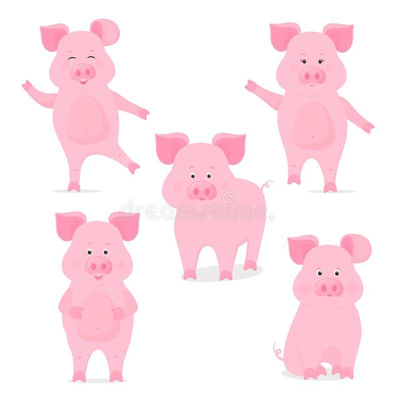 一套逗人喜爱的贪心字符用不同的姿势 滑稽的猪 农历新年的标志 向量例证