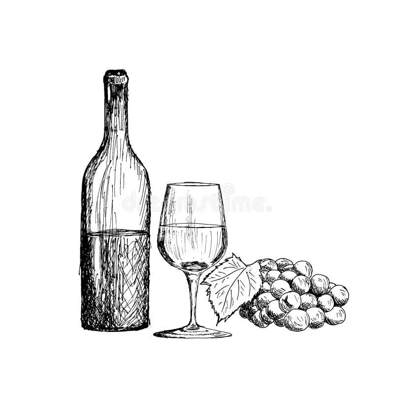 一套酒 玻璃、瓶和一束葡萄葡萄酒手拉的剪影导航例证 库存例证