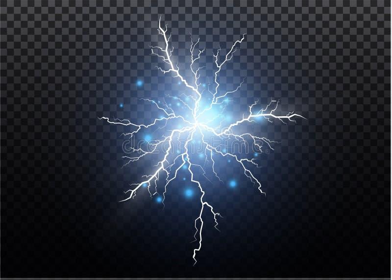 一套闪电魔术和明亮的光线影响 也corel凹道例证向量 放电电流 当前的费用 皇族释放例证