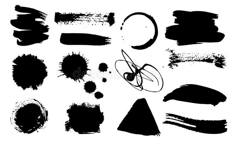 一套难看的东西墨水下落 肮脏的艺术性的设计元素,箱子,框架 刷子冲程手拉的传染媒介例证 库存例证