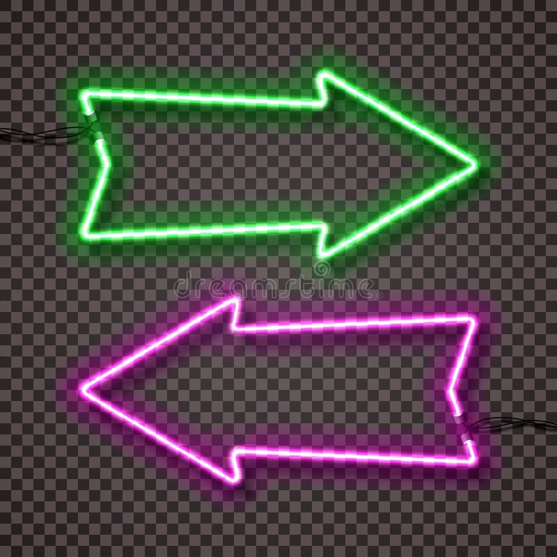 一套霓虹灯两种颜色的变形有导线的,形状的箭头尖 绿色和紫罗兰 皇族释放例证