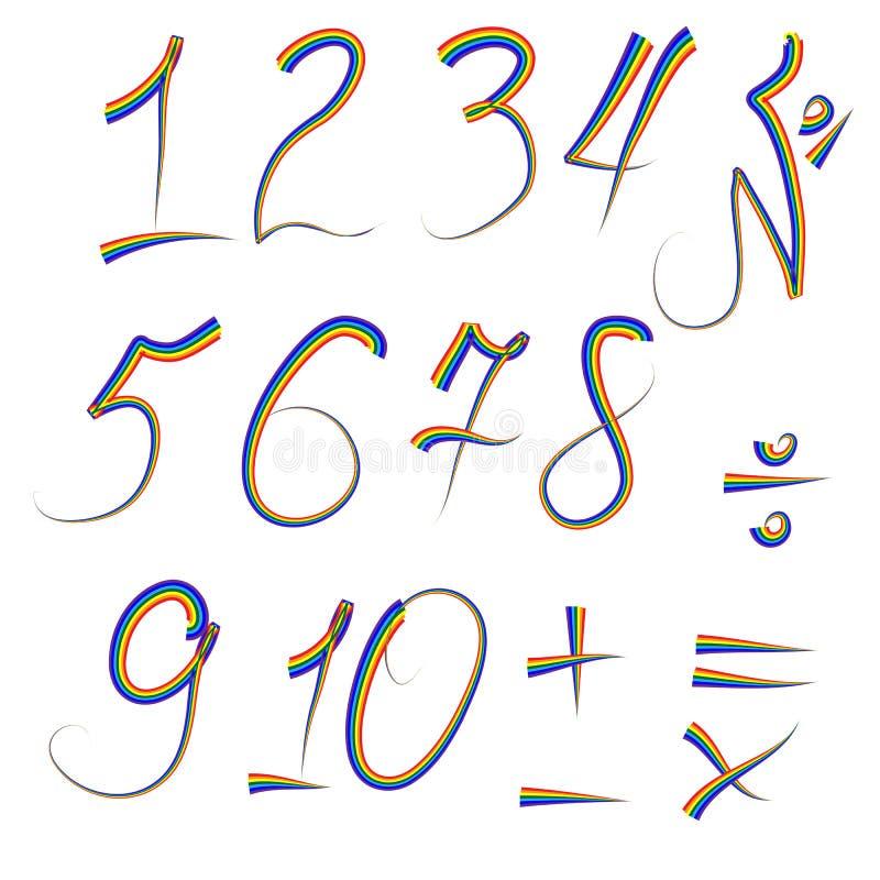 一套从一个的数字到在一个呈虹彩概述写的十,加上,减,分界,倍增,均等 皇族释放例证