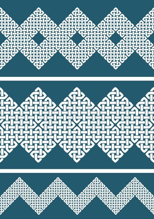 一套3亚洲或凯尔特样式结无缝的边界或者样式 向量例证