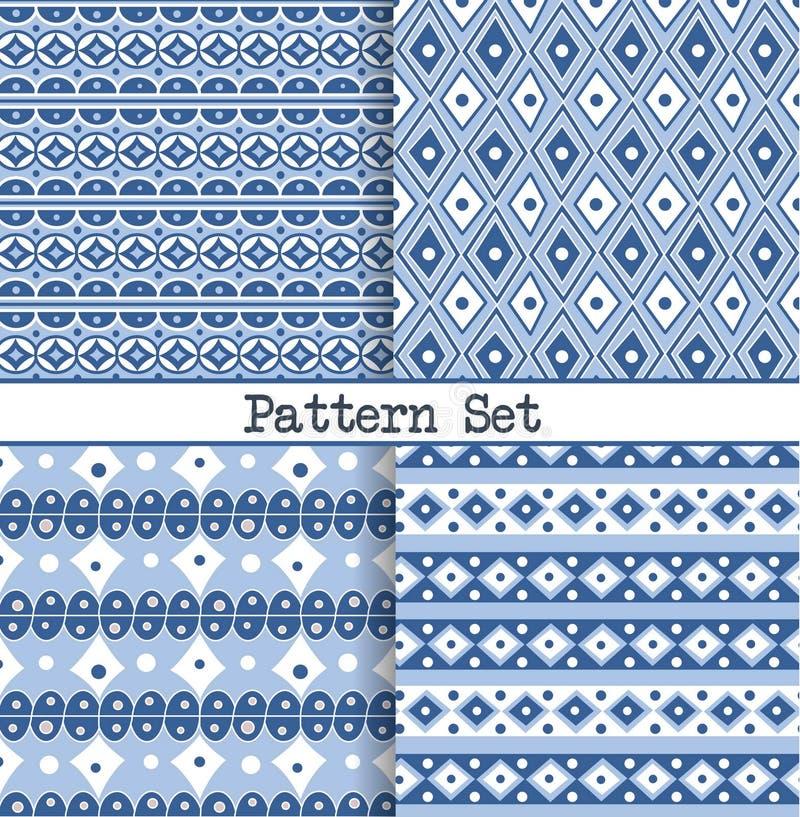 一套织品,包裹,设计和背景的无缝的蓝色和白色东方葡萄酒摩洛哥样式 库存例证