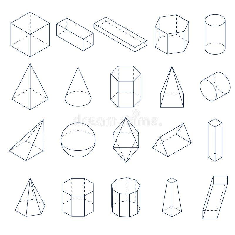 一套3D几何形状 等轴测图 库存例证