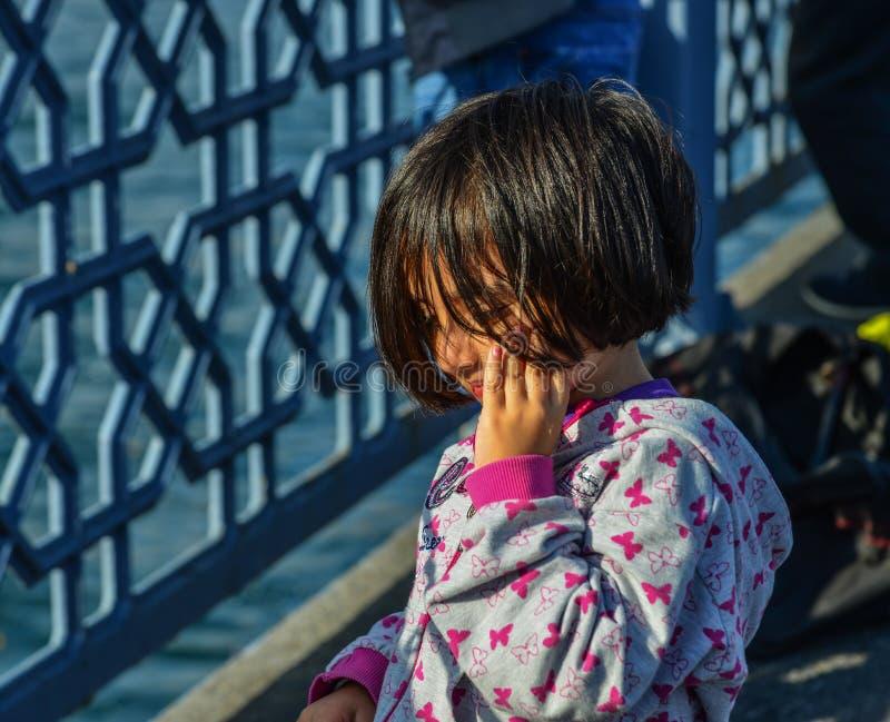 一女孩的画象在伊斯坦布尔,土耳其 免版税库存图片