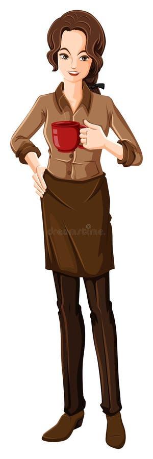 一女性barista 皇族释放例证