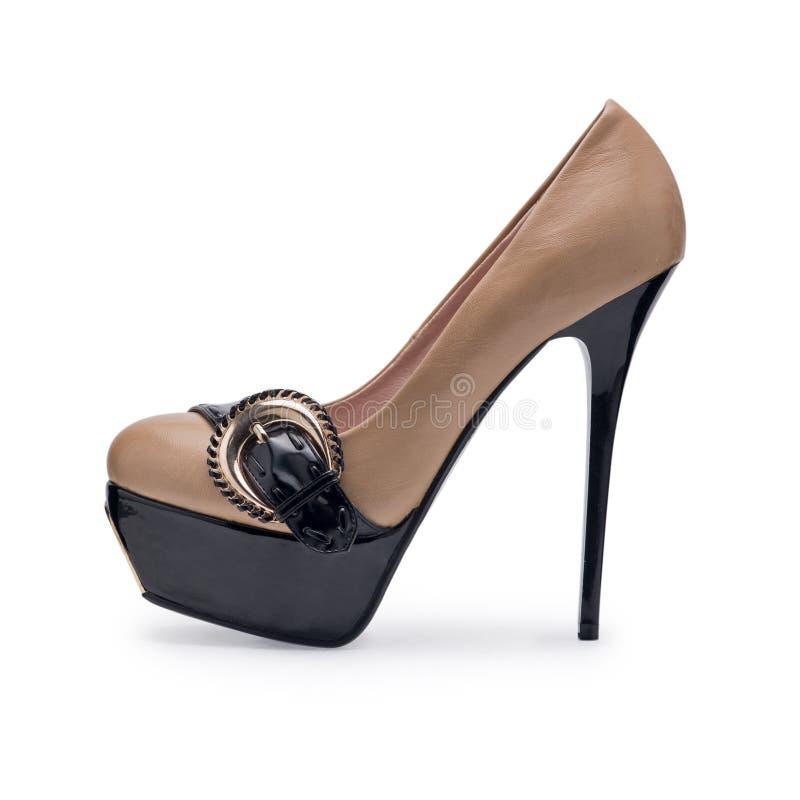一妇女的鞋子灰棕色皮革 库存照片